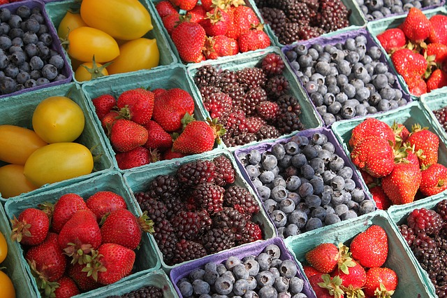fresh fruit at a farmers market stand